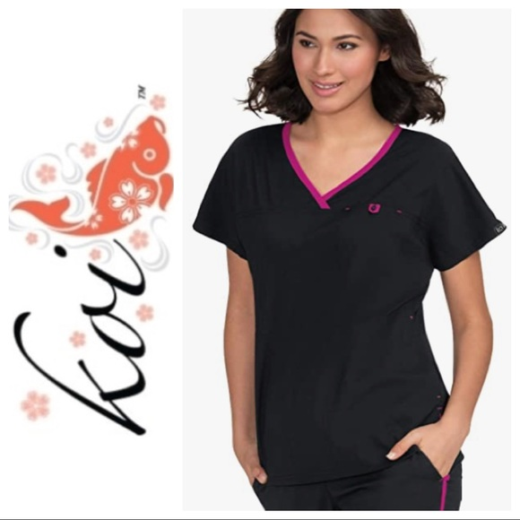 Koi Basics Black/Azalea Scrub Top